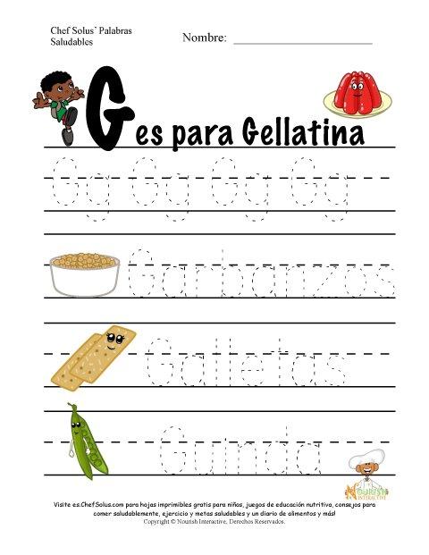 Palabras de Nutrición y Ejercicio Usando la Letra Gdel Alfabeto