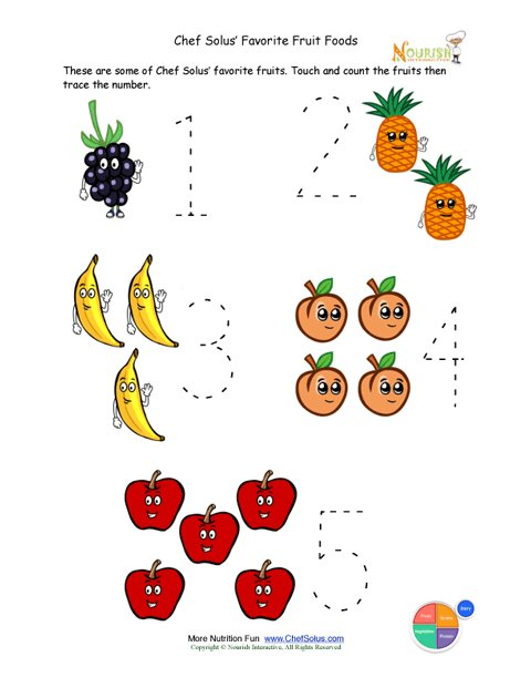Food Worksheets For Preschoolers : Preschool writing activity trace the fruit foods