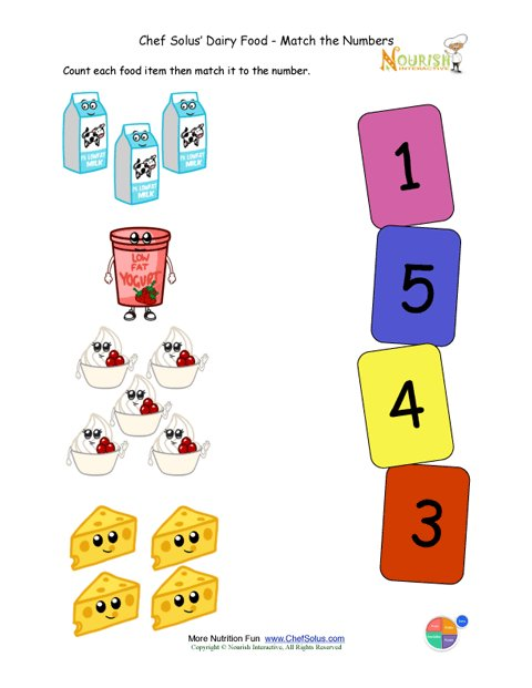 Free Worksheets preschool activities printables : Preschool Matching Foods and Numbers Activity - The Dairy Food Group