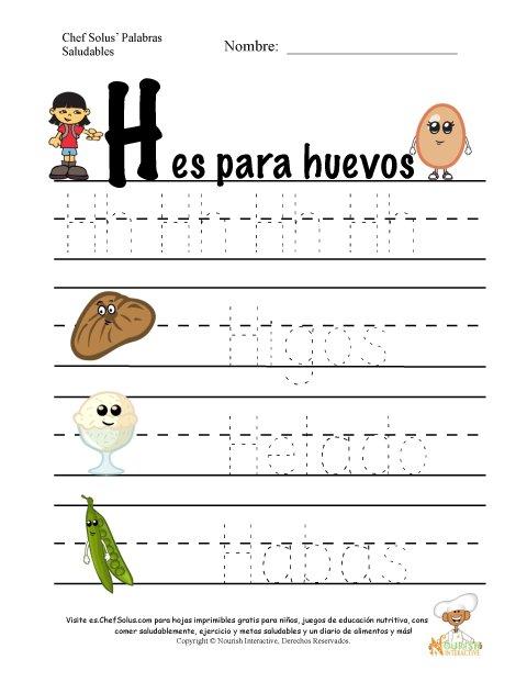 Palabras de Nutrición y Ejercicio Usando la Letra H del Alfabeto