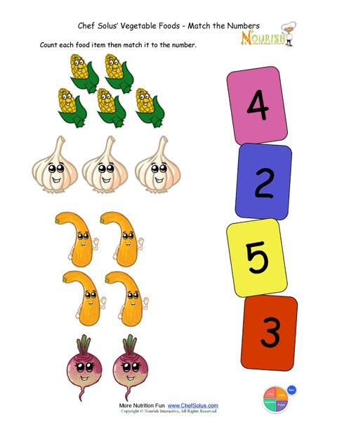 Preschool Matching Foods And Numbers Activity The
