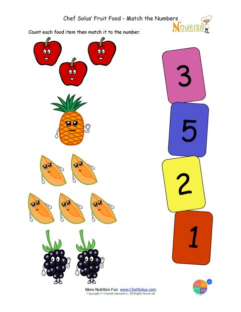 Preschool matching foods and numbers activity the fruit food group