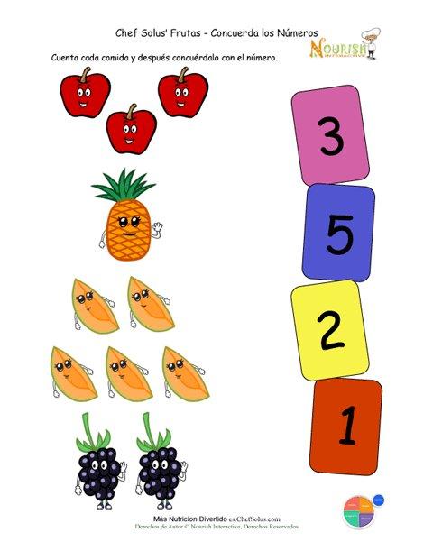 Actividad Preescolar de Emparejar Los Alimentos y Los Números ...