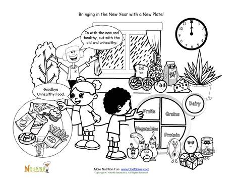 Bringing In The New Year With My Plate Coloring Sheet