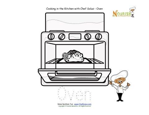 Preschool Tracing Worksheet - Kitchen words vocabulary sheet - Oven