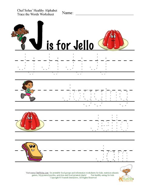 Letter J Words. Trace The Words That Begin With The Letter J ...