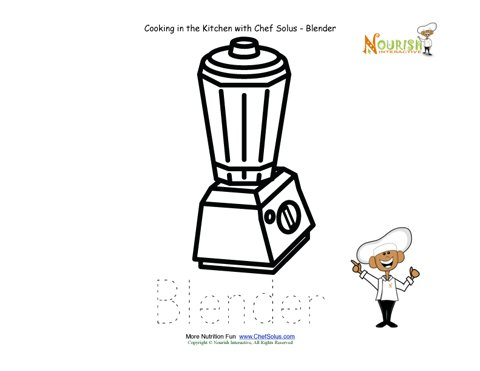 Preschool Tracing Worksheet - Kitchen words vocabulary sheet - Blender