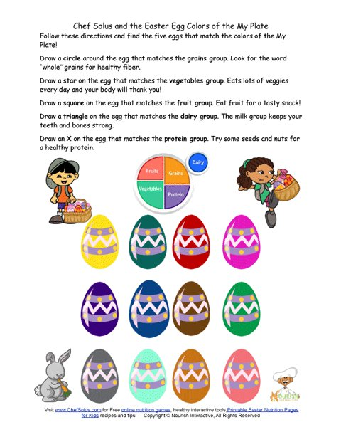 Holiday 5 Fun Easter Egg My Plate Worksheet