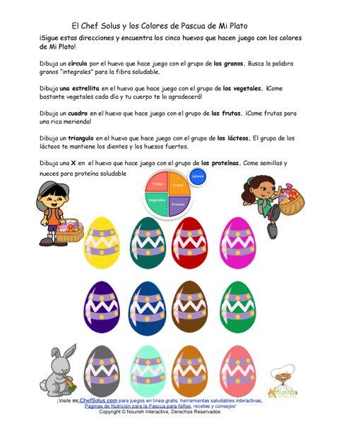 Divertida Hoja de Trabajo de Mi Plato y los Huevos de Pascua