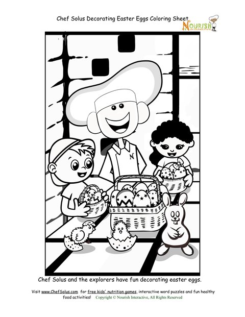 easter egg decorating coloring page