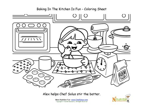 Baking with Kids Coloring Page For Kids