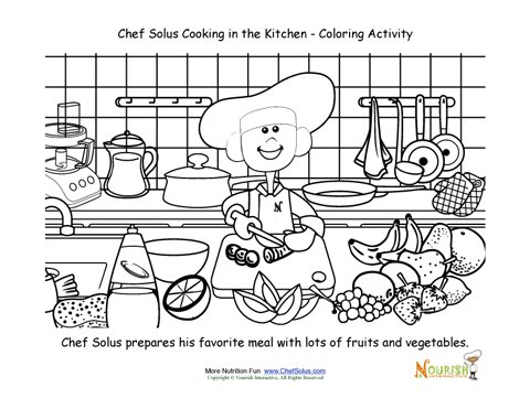 cooking with kids chef solus chopping vegetables coloring page. Black Bedroom Furniture Sets. Home Design Ideas