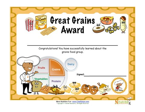Food Group Grains Fun Certificate Of Achievement For Children