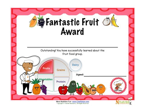 Food Group Fruit Fun Certificate Of Achievement For Children