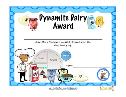 Food Group Dairy Milk Fun Certificate Of Achievement For Children – Certificate of Achievement for Kids