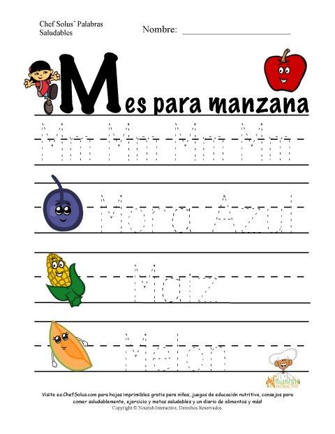 Palabras de Nutrición y Ejercicio Usando la Letra M del Alfabeto