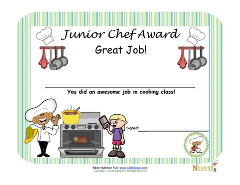 Cooking Certificate Template Inspiration Junior Chef Cooking Award For Children