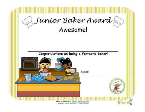 Junior Baker Baking Award for Children – Cooking Certificate Template
