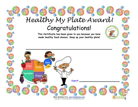 my plate balanced meal award certificate for children