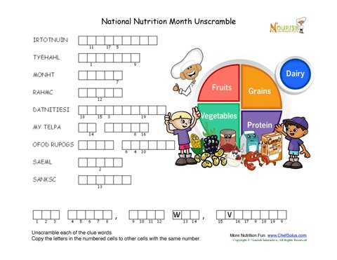 national nutrition month unscramble puzzle for children