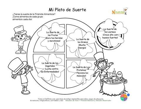 Día Festivo 3 Página de Colorear de Mi Plato de la Suerte
