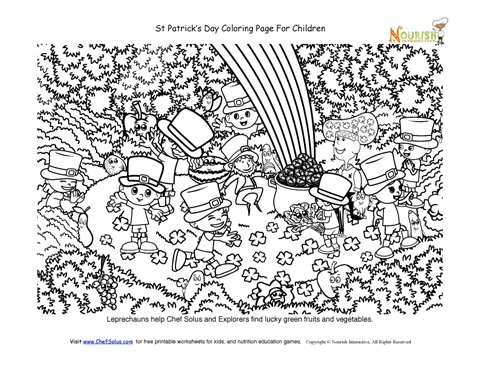 Lucky Forest Coloring Page - St Patricks Day Theme