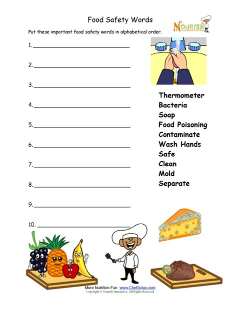 Food Safety Worksheet For Younger Children Alphabetize Words