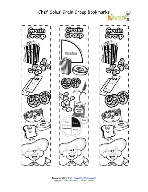 Bookmarks Coloring Grains Food Group Activity Chef Solus Grains