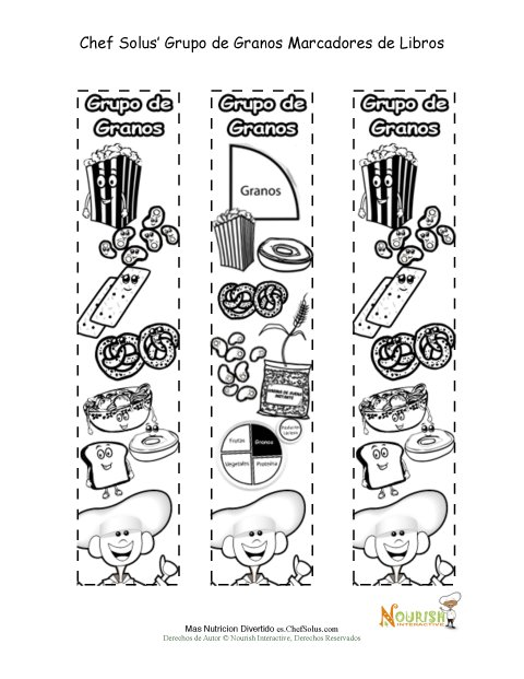 Actividad Para Colorear Marcadores de Libros del Grupo Alimenticio ...