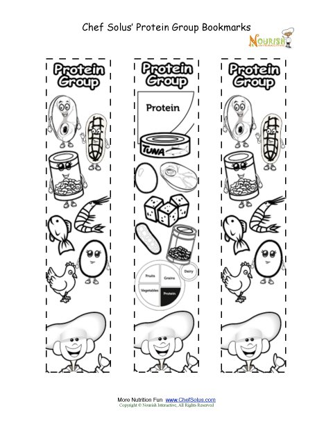 Bookmarks Coloring Protein Food Group Activity Chef