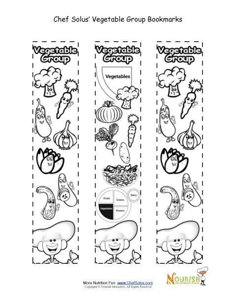 Bookmarks Coloring Vegetable Food Group Activity
