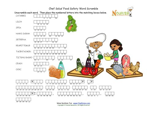 Worksheet Food Safety Worksheet food safety words unscramble puzzle for children