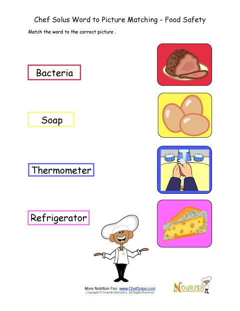 Printables Food Safety Worksheets food safety matching words to picture activity worksheet for children