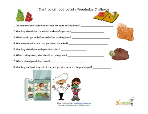 Food Safety Test Your Knowledge Worksheet For Children