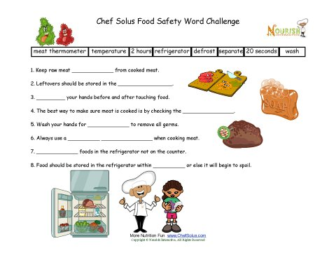 Food Safety Fill In The Blanks Worksheet For Elementary School Children