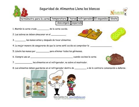 Seguridad alimentaria hoja de trabajo para llenar los for La cocina de los alimentos pdf