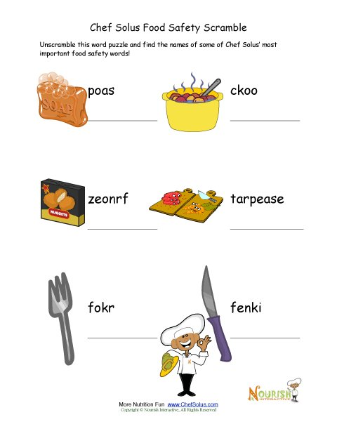 Food Safety Words Unscramble Puzzle For Young Readers