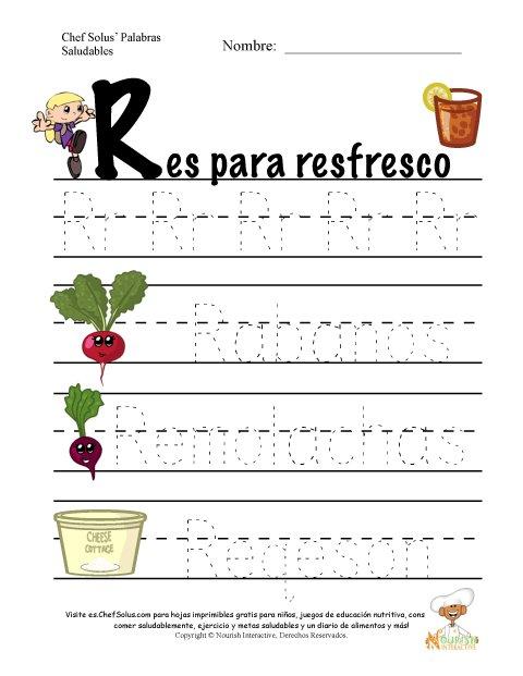Palabras de Nutrición y Ejercicio Usando la Letra R del Alfabeto