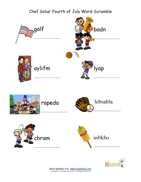 Holiday 9 Fourth Of July Active Words Unscramble Worksheet