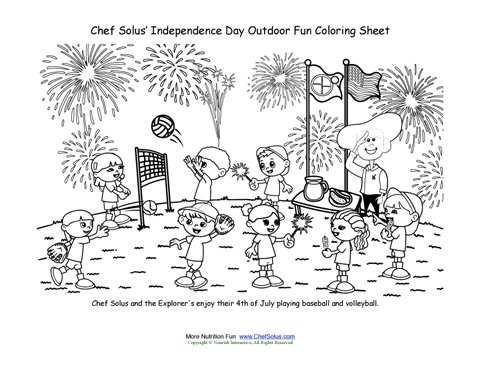 Chef Solus Outdoor Activities Coloring Page Fourth Of