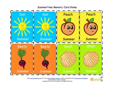 kids matching summertime foods and activities card game printable