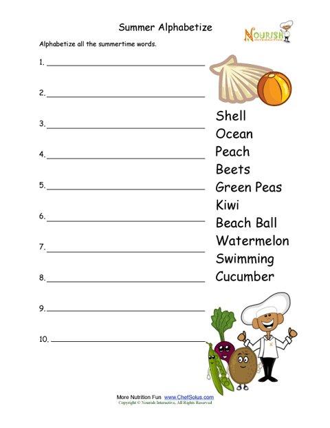 Summertime Alphabetize Healthy Words Activity For Children