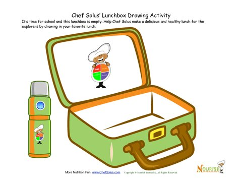 Draw Your Healthy Lunch Foods In Lunchbox