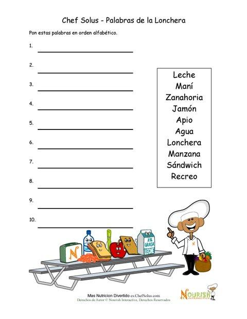Actividad De Orden Alfabético De Palabras Del Almuerzo Saludable Para Jóvenes Escritores