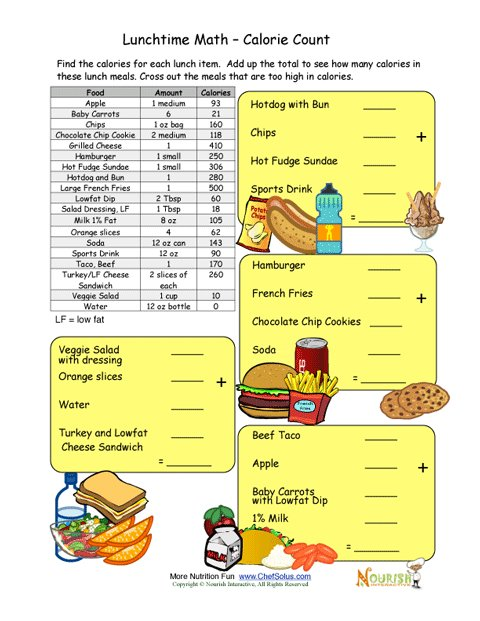 Worksheets Calorie Worksheet calorie count math worksheet for elementary school children lunchtime time