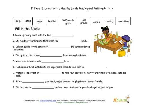 Lunch Themed Writing And Phonics Activity