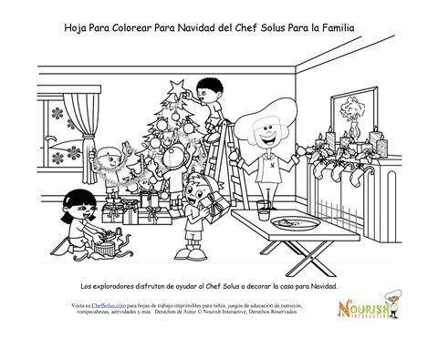 Página Del Chef Solus Para Colorear De La Navidad Familiar
