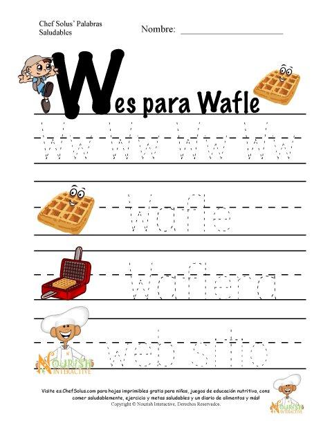 Palabras de Nutrición y Ejercicio Usando la Letra W del Alfabeto
