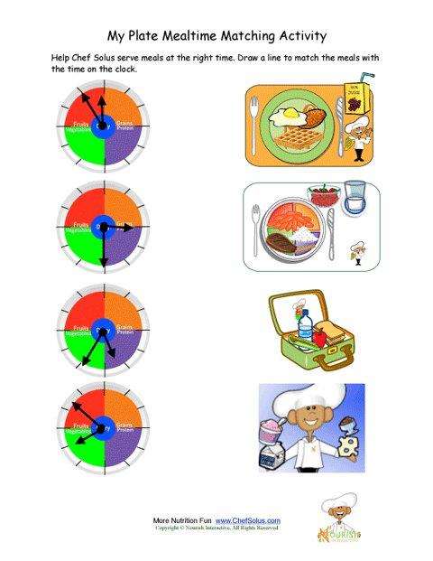 871 My Plate Mealtime Clock Telling Time Kids Activity on Kindergarten Safety Worksheets