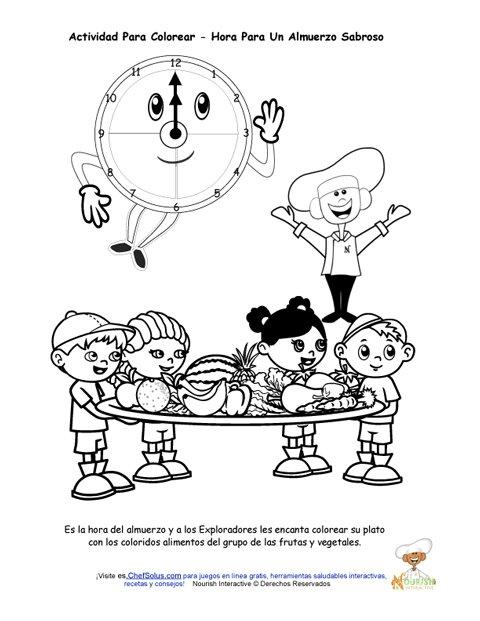 Actividad Para Colorear De Mi Plato Para Niños De Decir La Hora